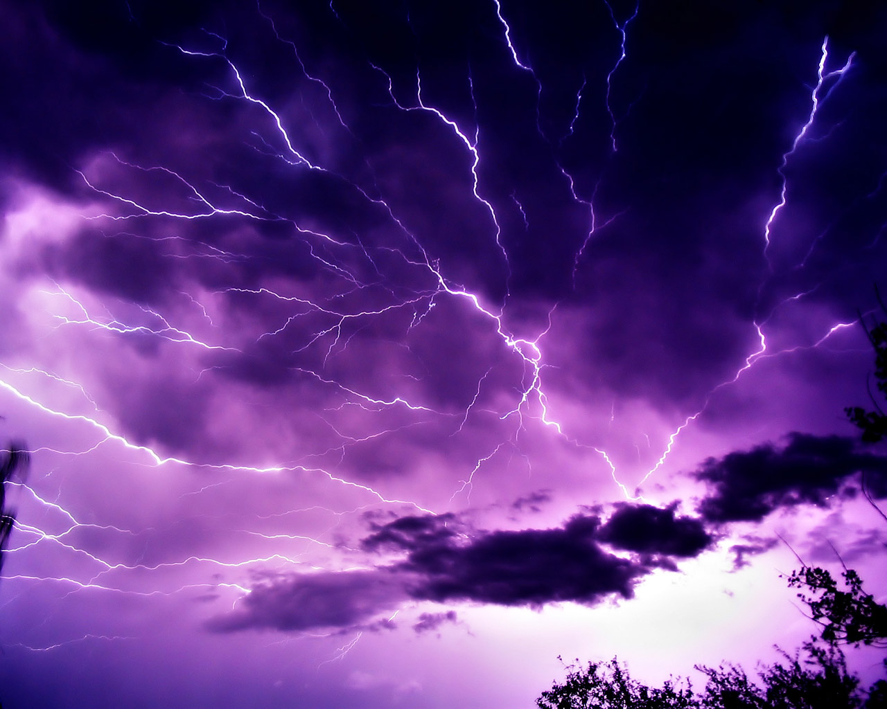 Mauve Sky with Lightning
