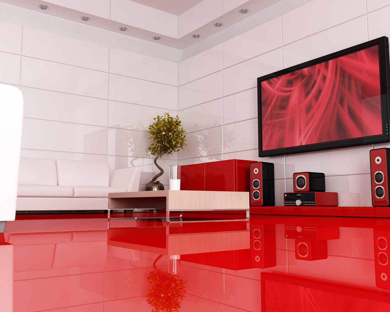 Red modern interior design