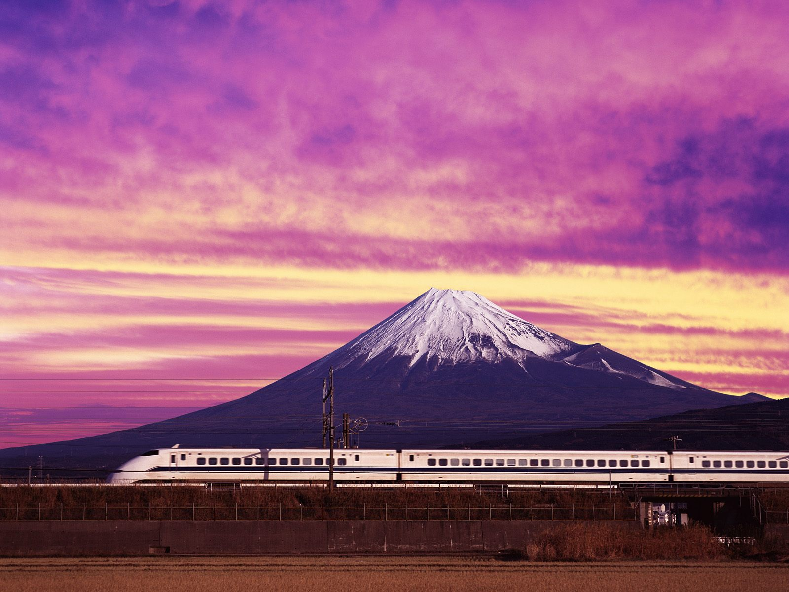 Shinkansen Bullet Train and Mount Fuji