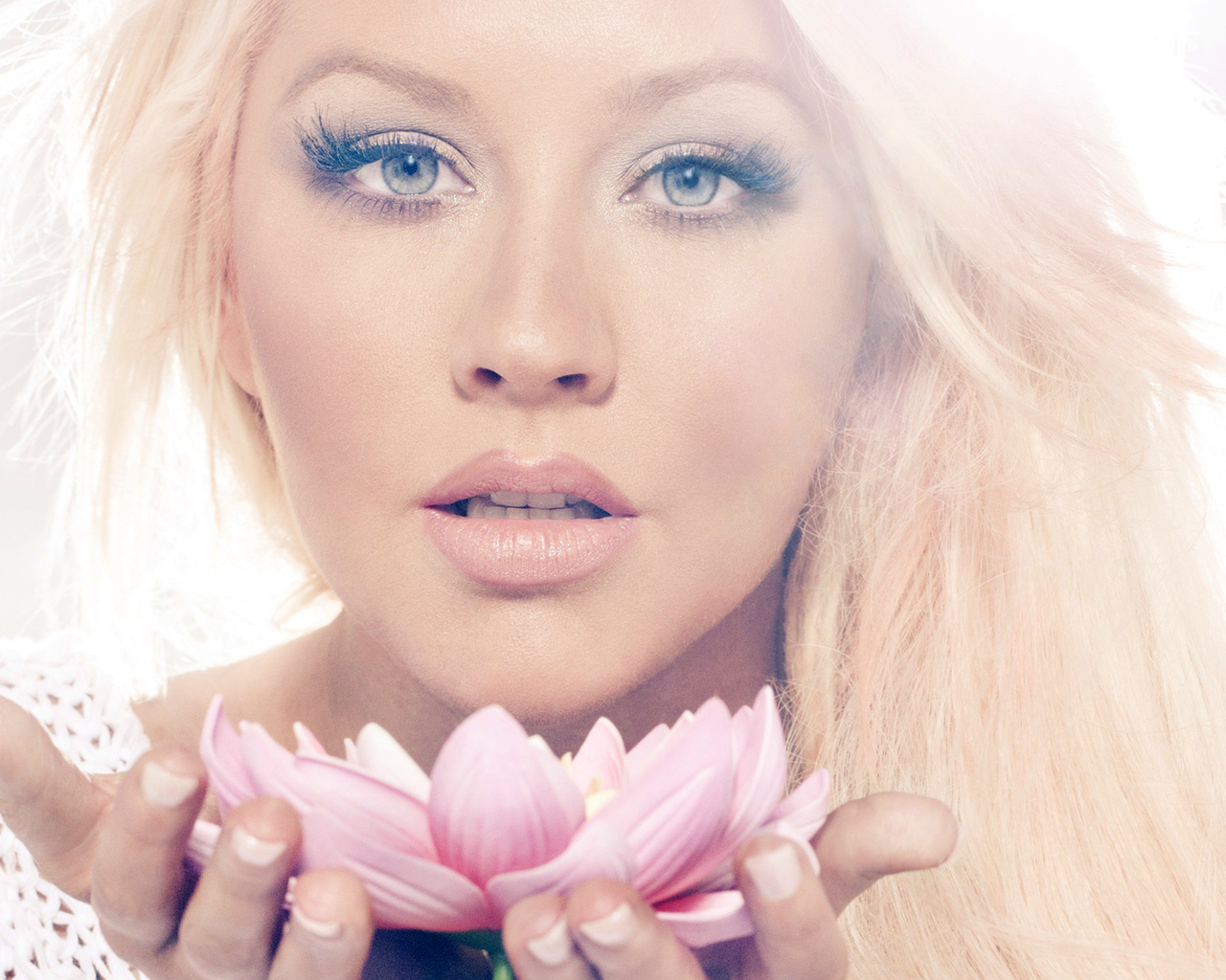 Christina Aguilera with a Lotus Flower