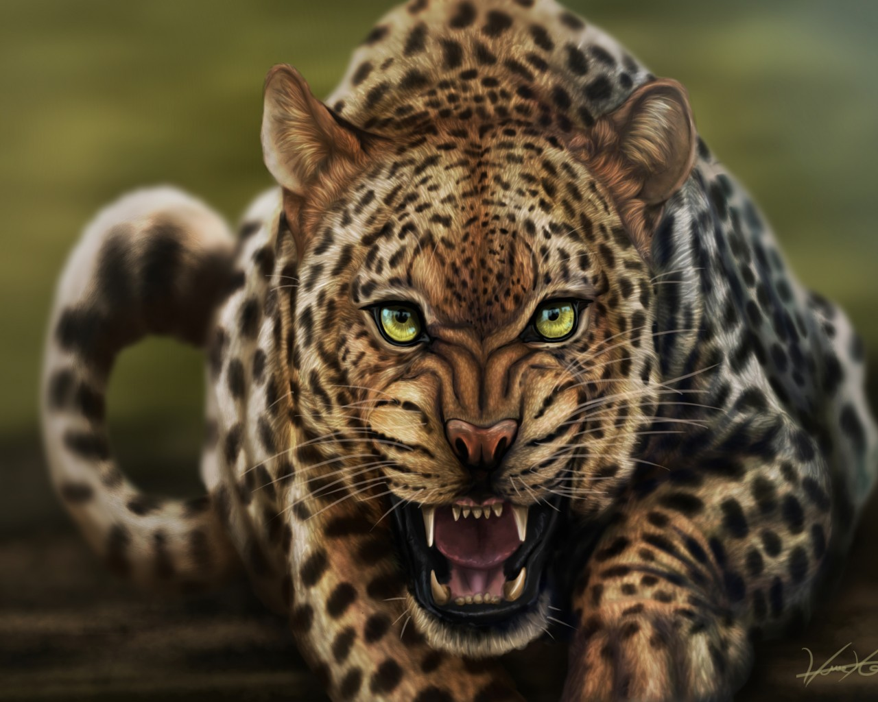 Angry Leopard Painting
