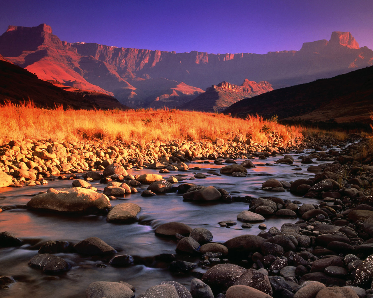 Drakensberg and Tugela River at Sunset