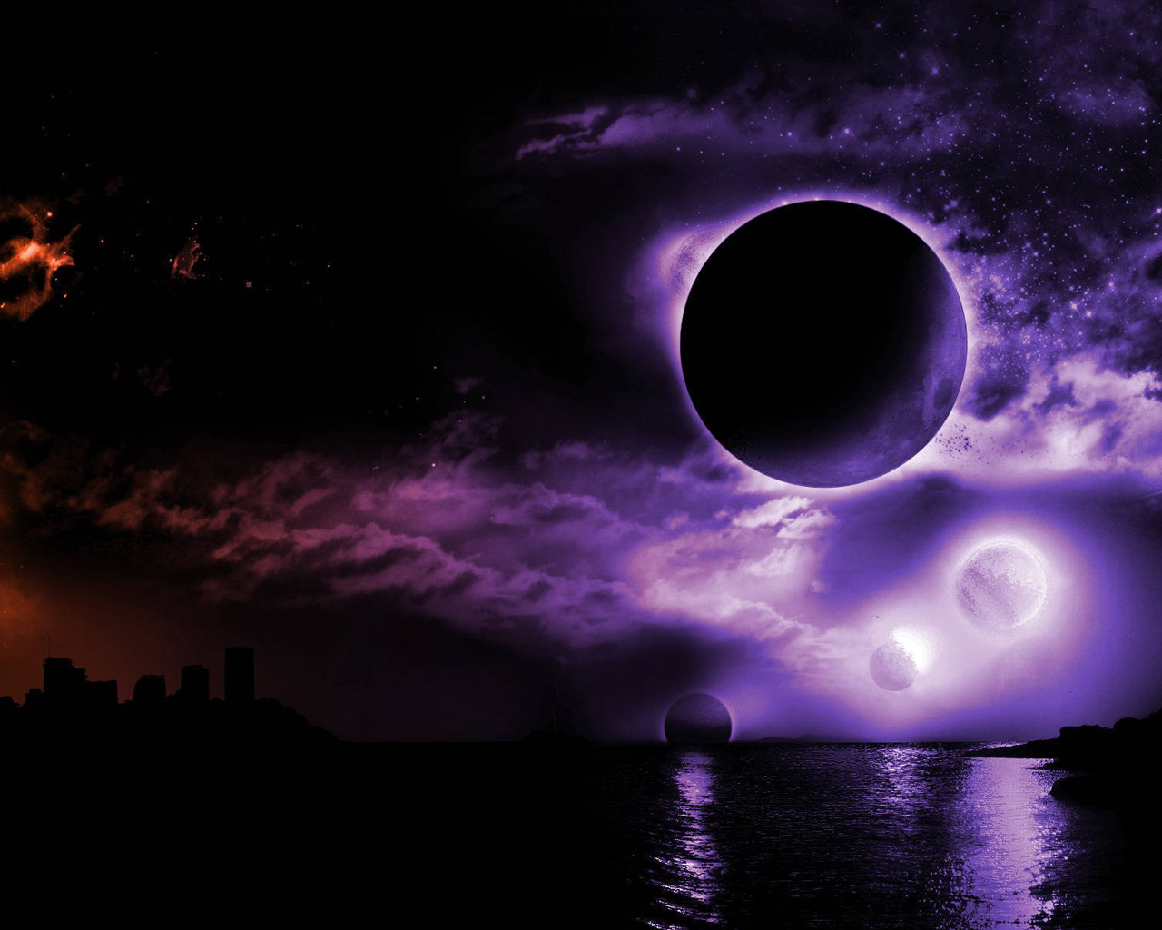 Purple planets and sky