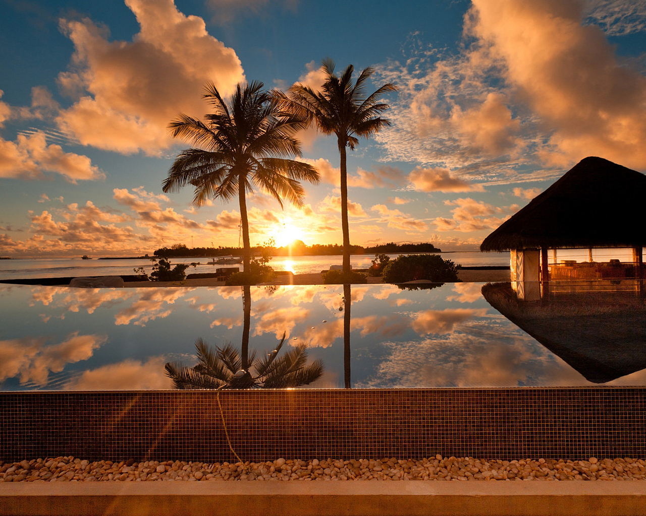 Tropical Pool Sunset
