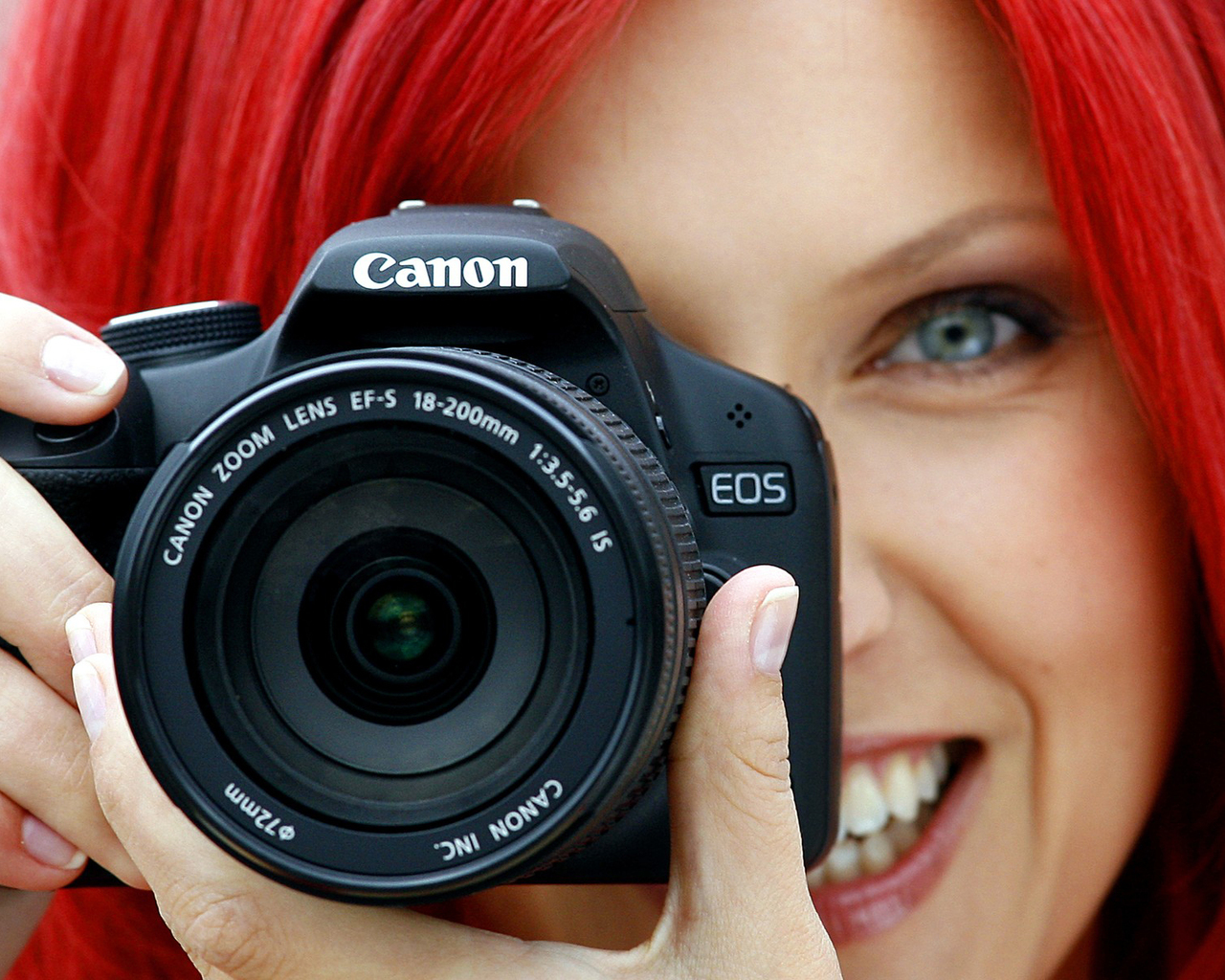 Red Hair Girl with Photo Camera