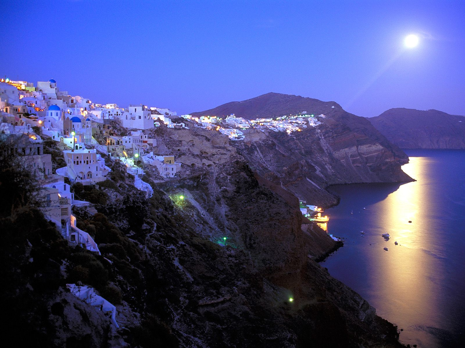Moonrise Over Santorini